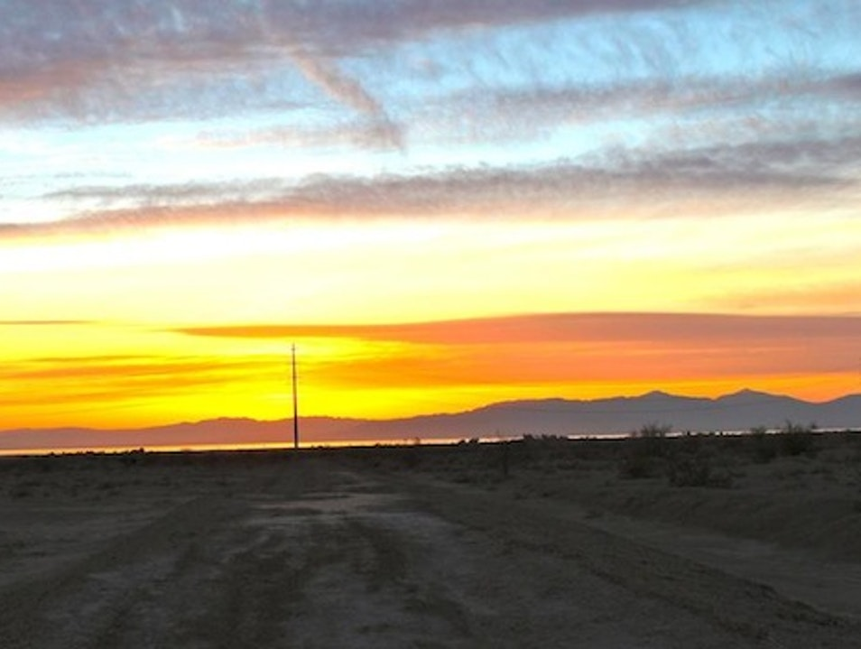 Sunset over the Salton Sea from Slab City Calipatria California United States