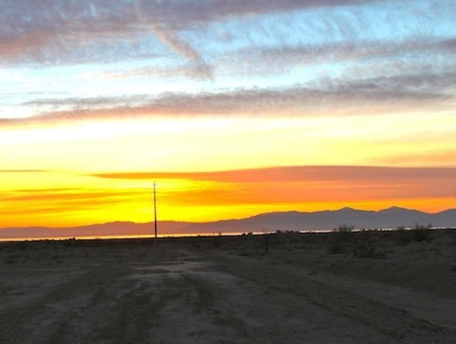 Sunset over the Salton Sea from Slab City