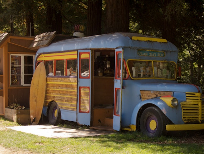 Claptrap Bus Dining at the Big Sur River Inn