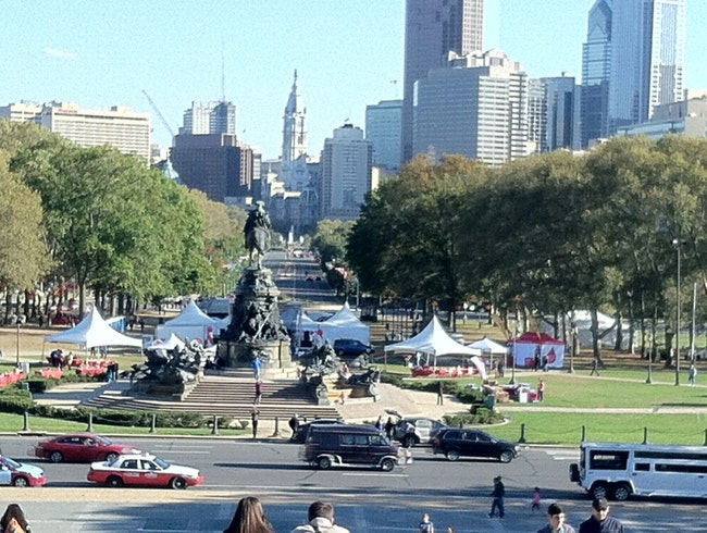 View from art museum steps, the Rocky steps...