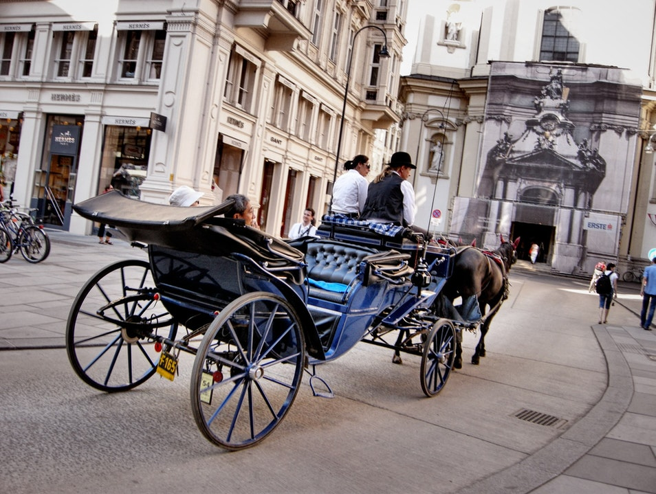 Exploring Old Town in a Horse Drawn Carriage in Vienna