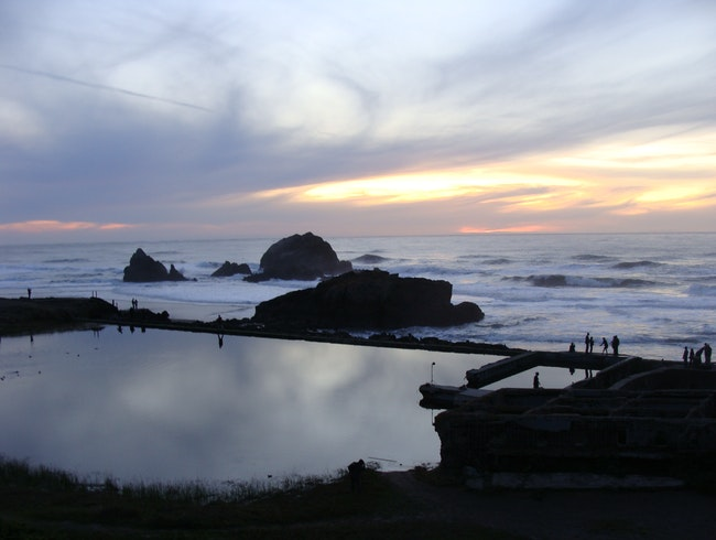 Taking in the Ocean View at the Sutro Baths