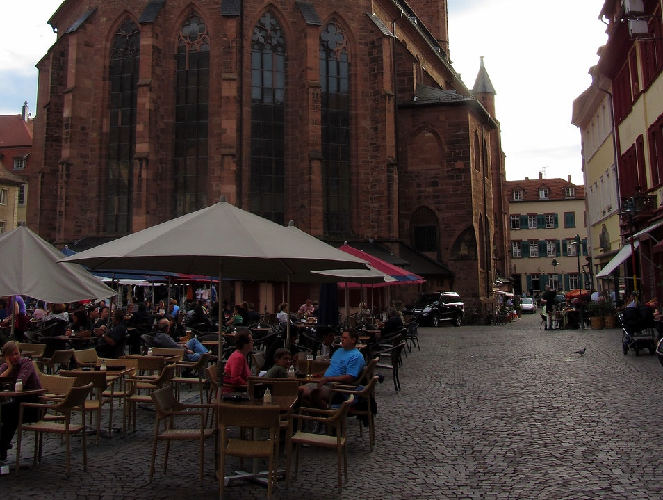 Social Market Place in Old Town Heidelberg  Germany