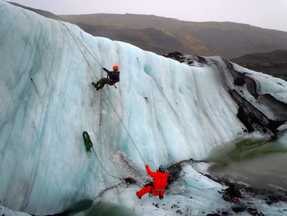 Ice Climbing on an Icelandic Glacier Southern Region  Iceland