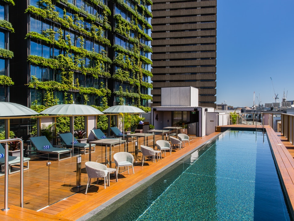 The rooftop pool at The Old Clare Hotel