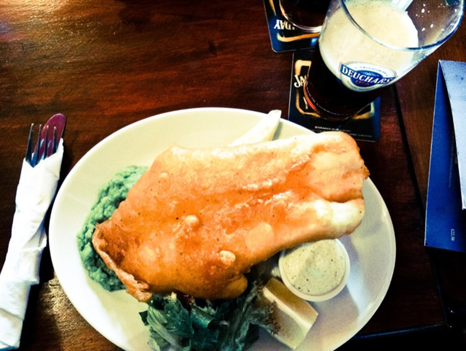 Fish and chips with a wee dram