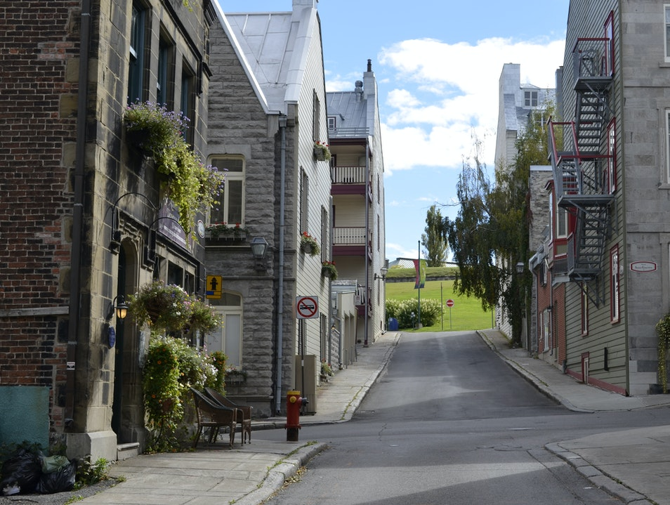 Secluded street leading to beautiful views of the Old City Quebec City  Canada