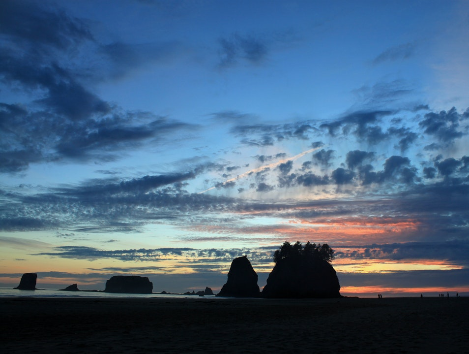Stunning sunsets on Second Beach  Forks Washington United States