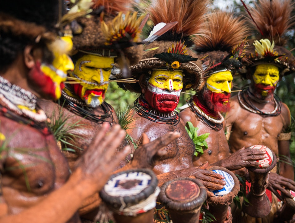 Singsing with the Huli Wigmen Southern Highlands Province  Papua New Guinea