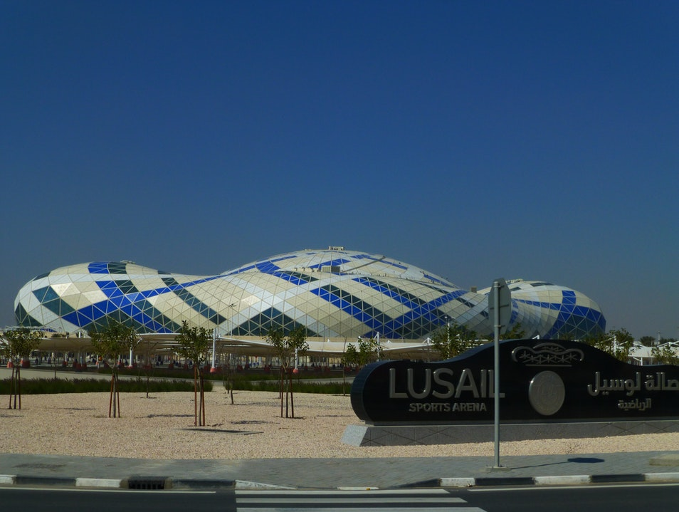 A conch-shaped sports arena in the middle of the desert. Al Daayen  Qatar
