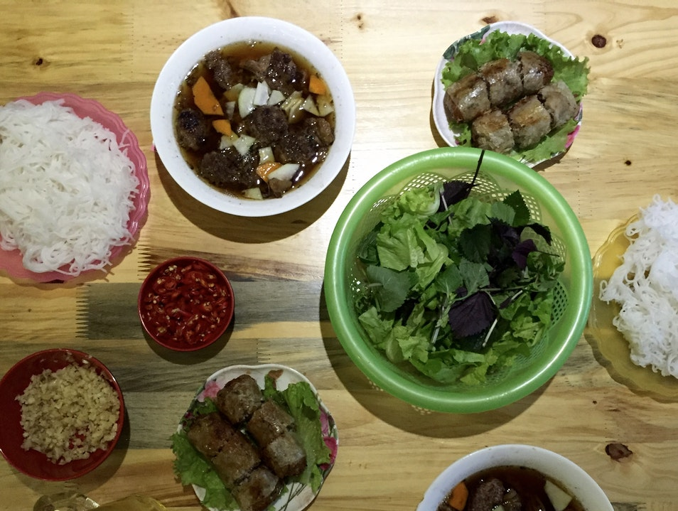 eat delicious bun cha ha noi at bun cha ta Hanoi  Vietnam