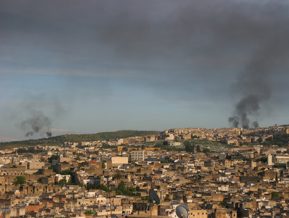 Kiln fires on the edge of the Medina in Fez Fes  Morocco