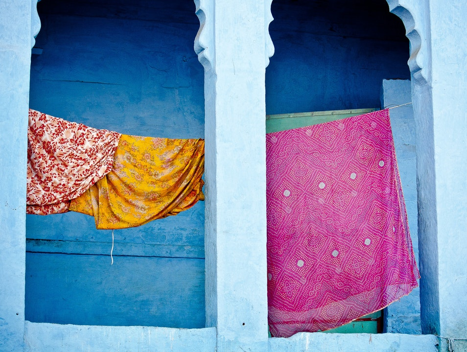 Saris on Clothesline, Rajasthan Jodhpur  India