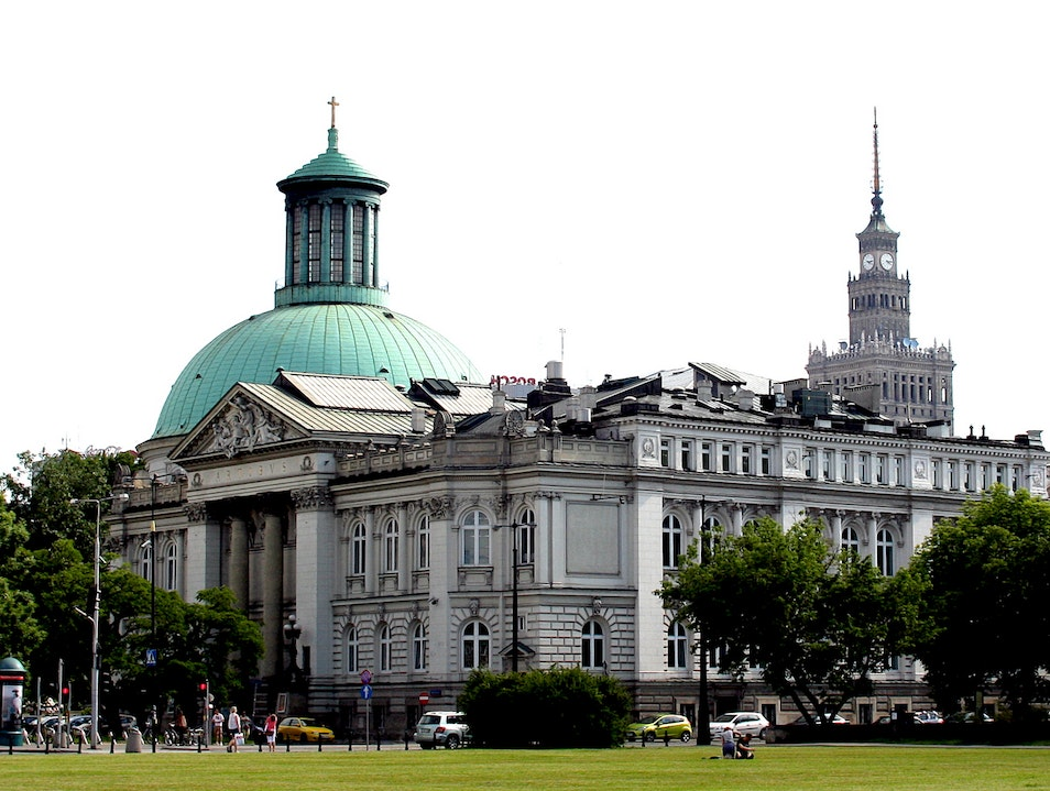 The view from Pilsudski square Warsaw  Poland