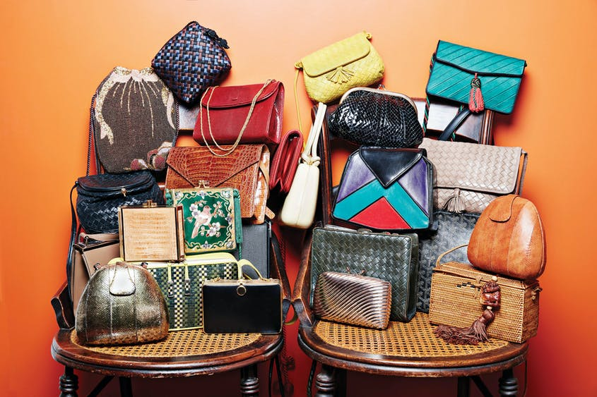 Iris's closet also holds a variety of purses and handbags collected during her years of travel.