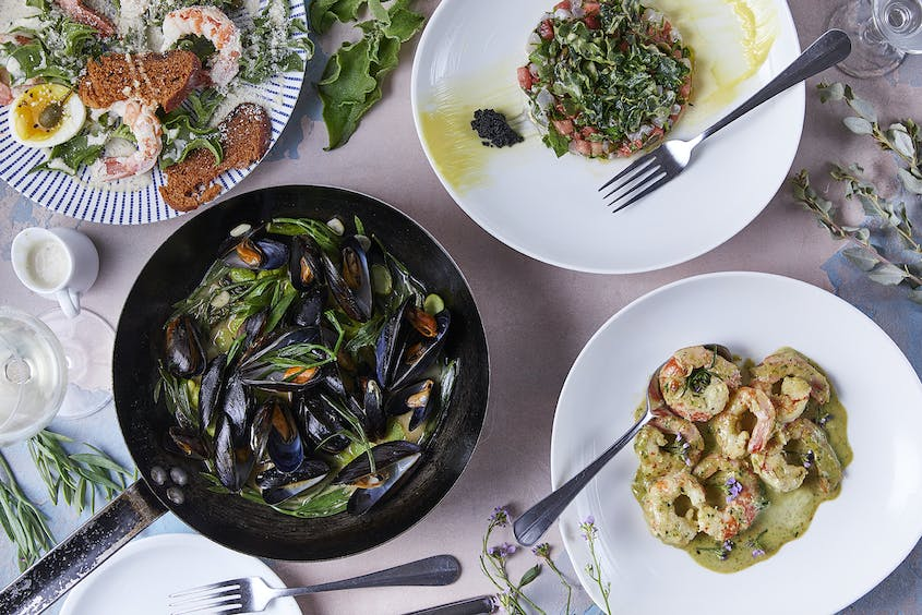 At Helena, seafood-heavy dishes are enhanced by shrubs and plants foraged just offshore, like sea fennel and ice lettuce.