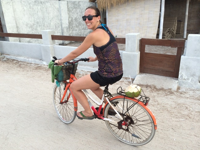 Riding around with my road soda on Gili T
