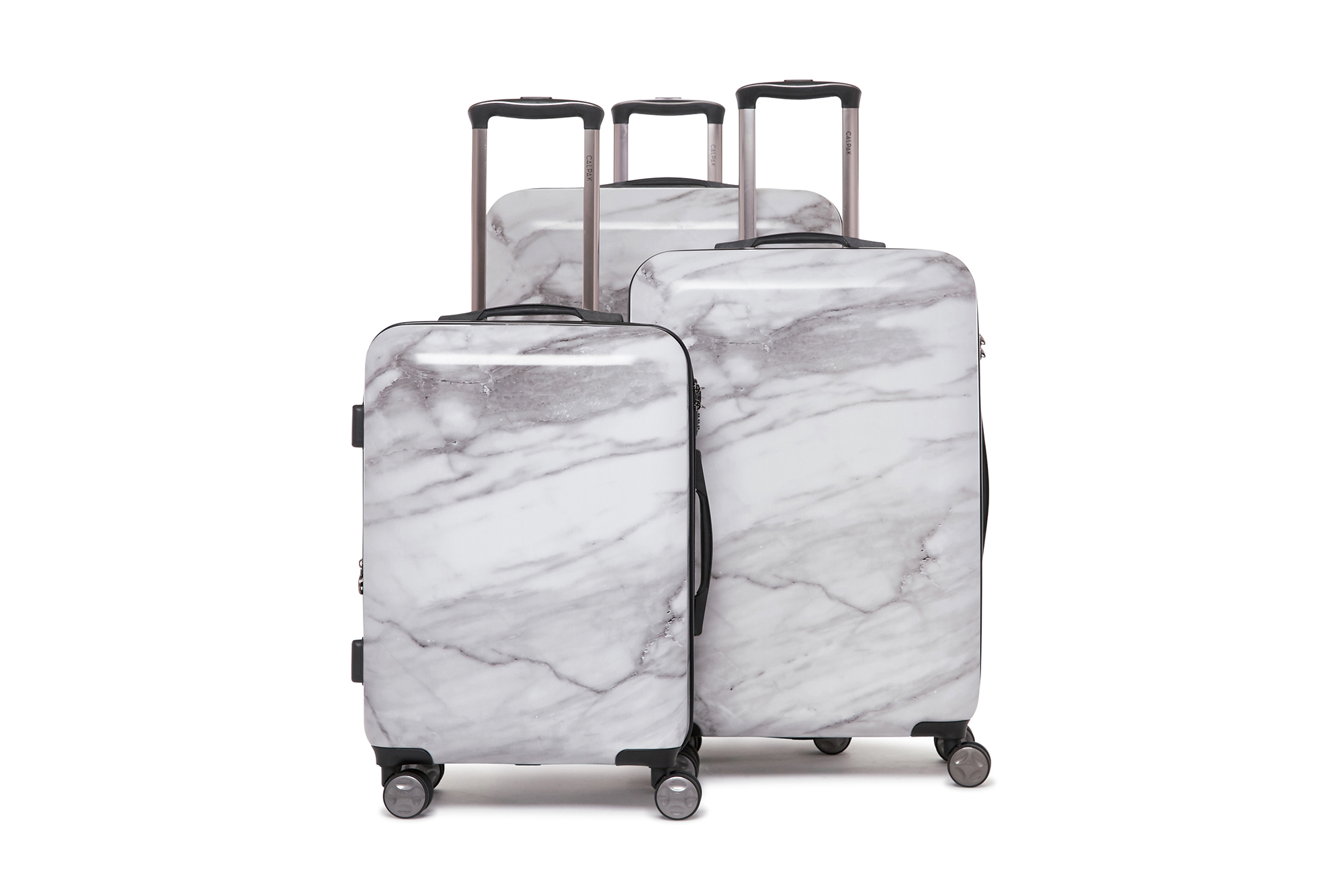 White And Silver Marble Traveler Lightweight Rotating Luggage Cover Can Carry With You Can Expand Travel Bag Trolley Rolling Luggage Cover