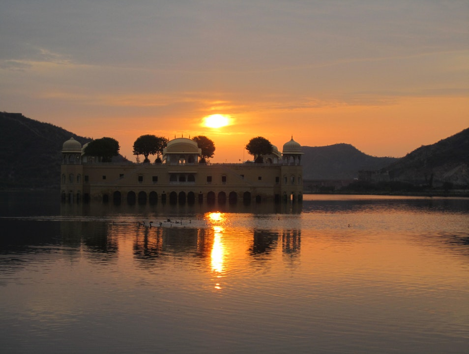 Sunrise over Jai Mahal - Lake Palace Jaipur  India