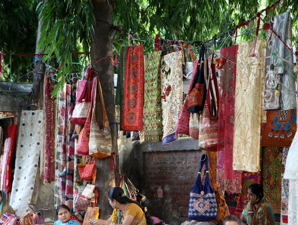 Traditional Textiles in Janpath New Delhi  India