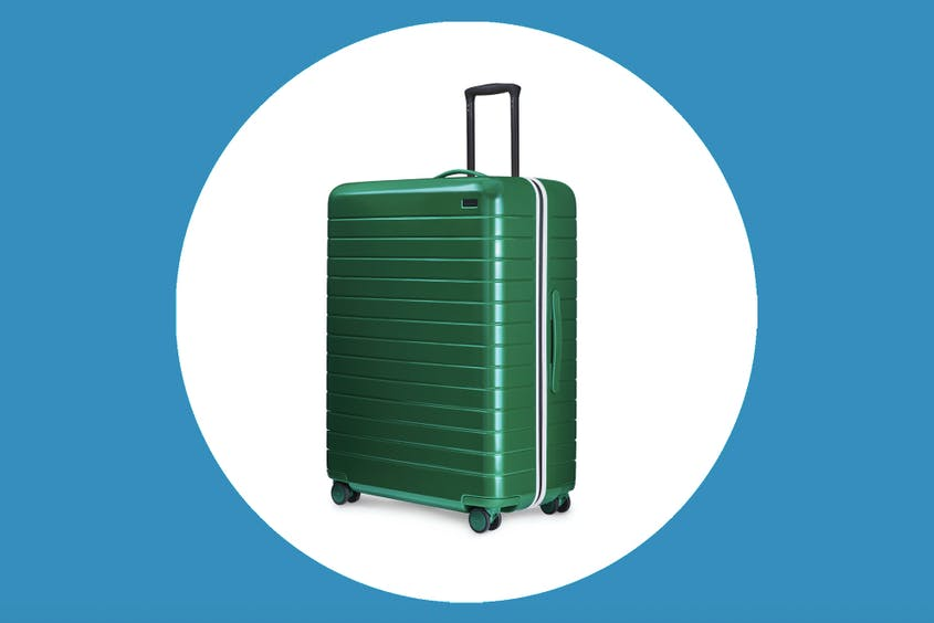 "The Large Away suitcase in ""Glade"" is 50 percent off during this sale."