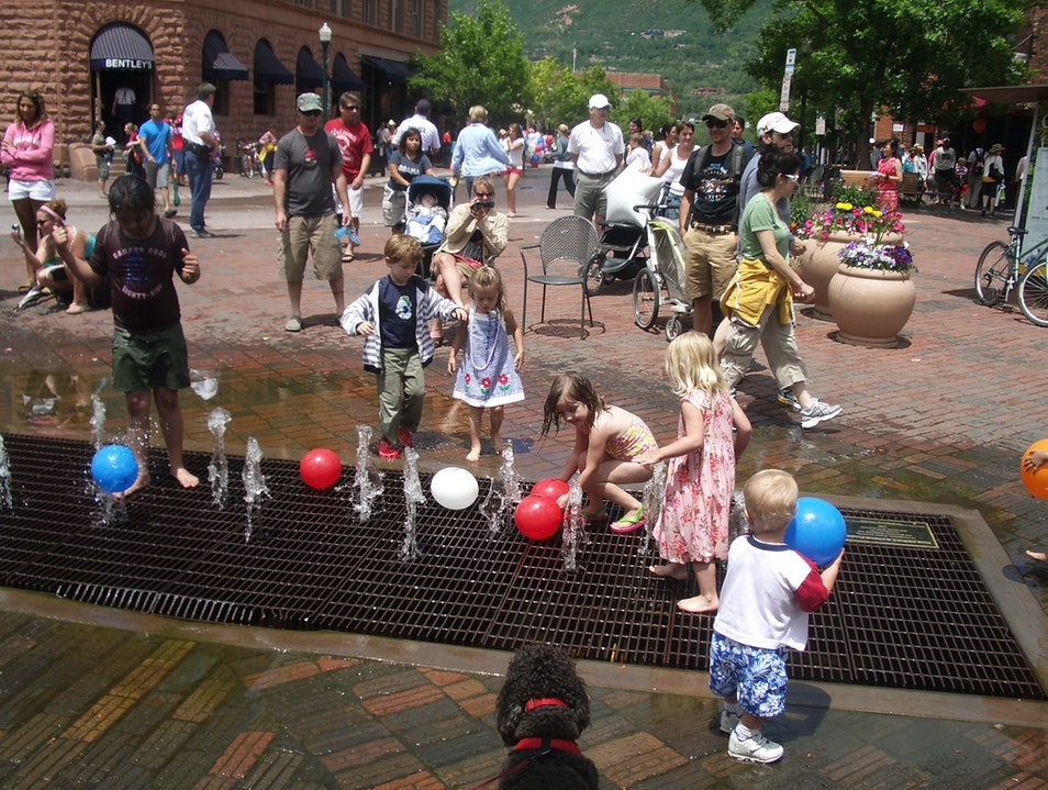 Playing in the Dancing Water Fountain Aspen Colorado United States