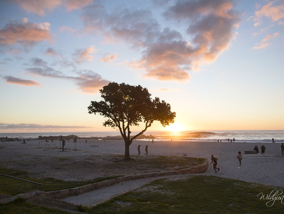 A Beautiful Sunset at Beautiful Camps Bay Beach, South Africa Cape Town  South Africa
