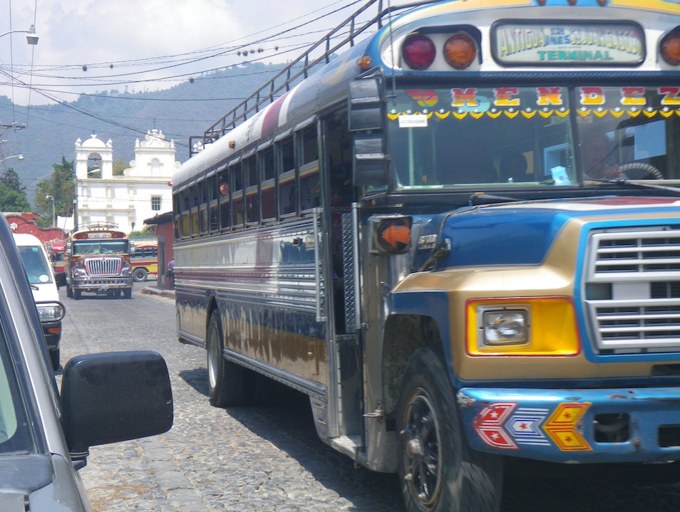 "The famed Guatemalan ""chicken bus"""
