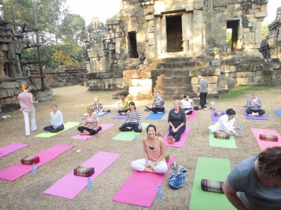 Yoga At The Temple Steps Angkor Krau  Cambodia