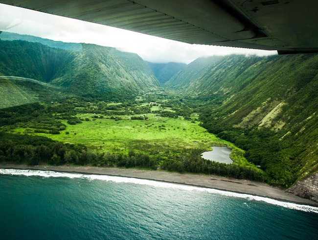 Airborne over Waipio Valley
