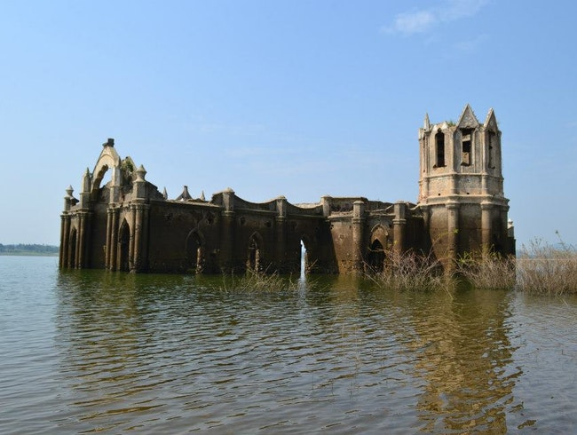 The submerged Rosary Church at Gorur Dam near Bangalore