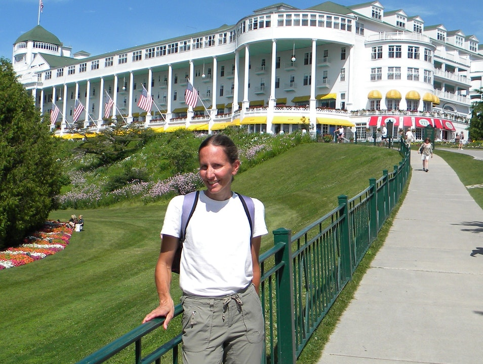 Veronica with the Grand Hotel in the background Mackinac Island Michigan United States