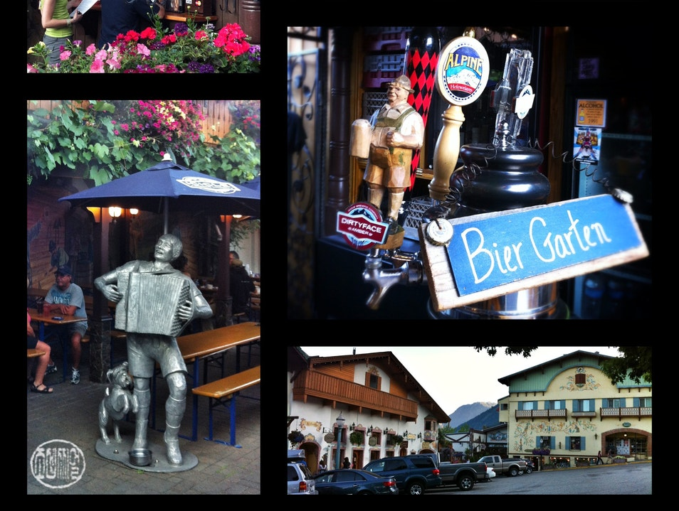 Post-hiking bier-und-wurst in the Cascades Leavenworth Washington United States