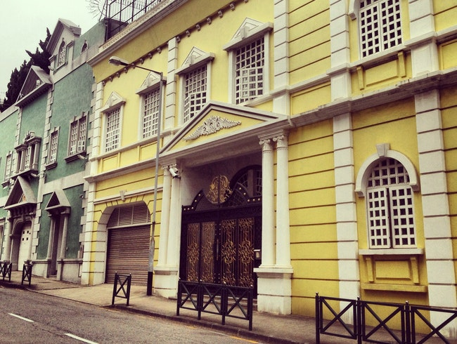 Colonial Portuguese Mansions at the foot of the Macau Taipa hiking trail
