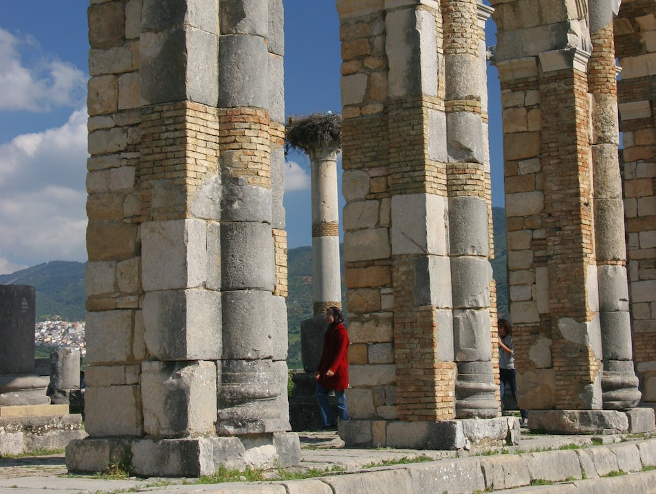 Temple in the Ruins of Volubilis, Morocco. Meknes-El Menzeh  Morocco