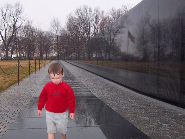 A rainy day visit to the Vietnam Veterans Memorial.