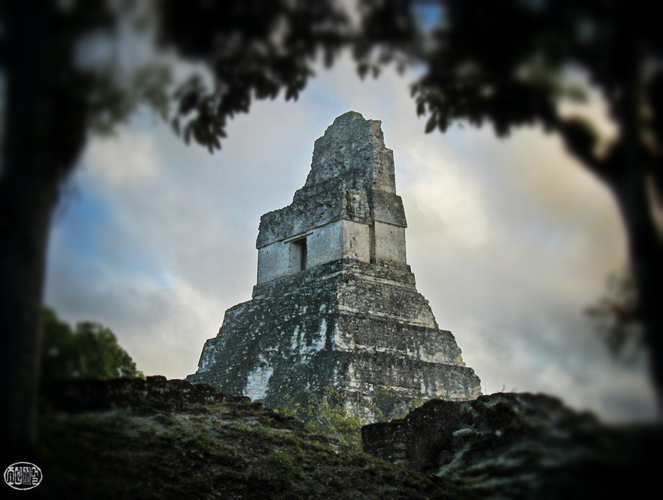 Jaguar Temple, rising out of the jungle Tikal  Guatemala