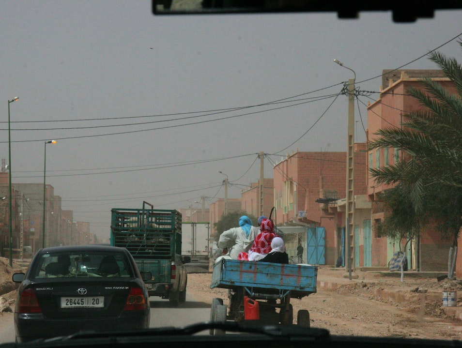 Dusty little city on the highway Ouarzazate  Morocco