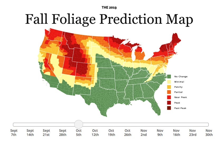 Fall Foliage Prediction Map 2020.Fall Foliage Prediction Map 2019 Here S When To Expect Peak
