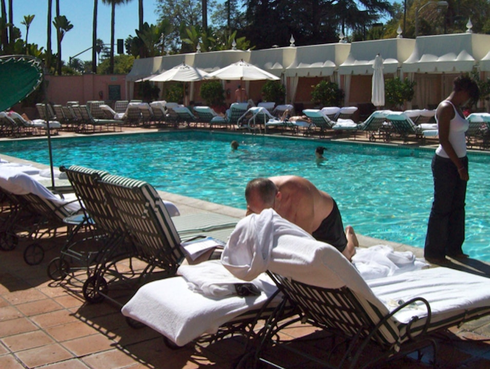 Sunbathing at the Beverly Hills Hotel
