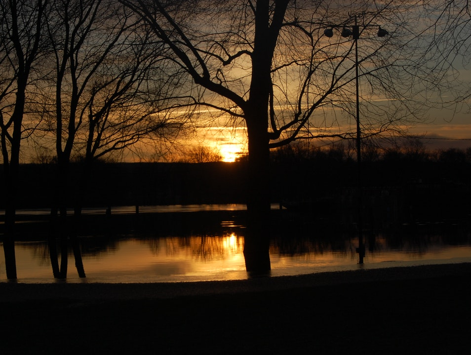Sunset Flooding East Hartford Connecticut United States