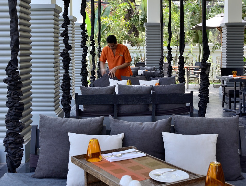 Sample contemporary Cambodian from a swing seat Siem Reap  Cambodia