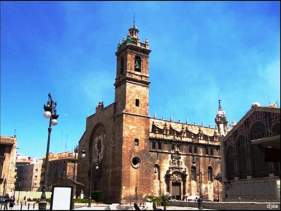 Zoom in on religious art and architecture at Santos Juanes Church Valencia  Spain