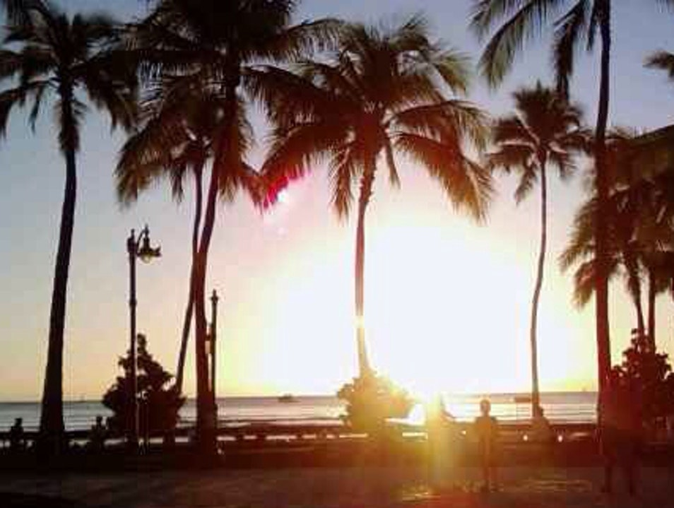 Sunset At Waikiki Beach Honolulu Hawaii United States