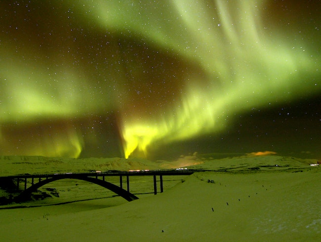 Aurora borealis in late November snow