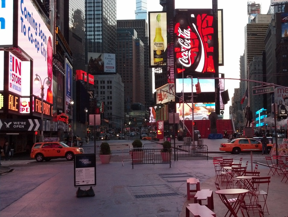 Time Square at 6:30 AM: Empty