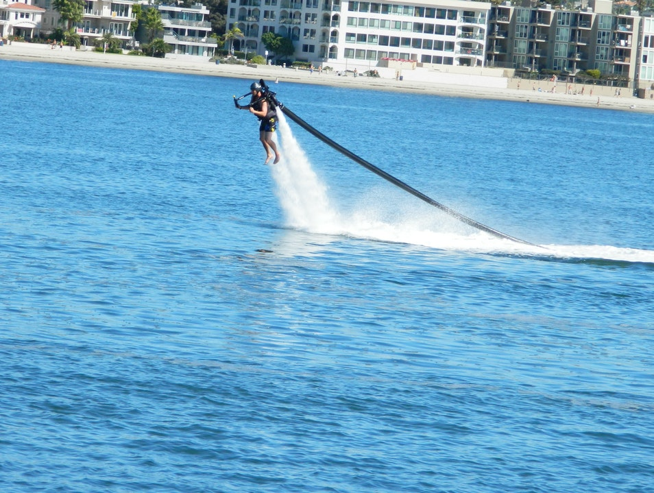 Fly a jetpack over Mission Bay San Diego California United States
