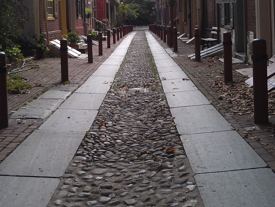Walking through the oldest block in America Philadelphia Pennsylvania United States