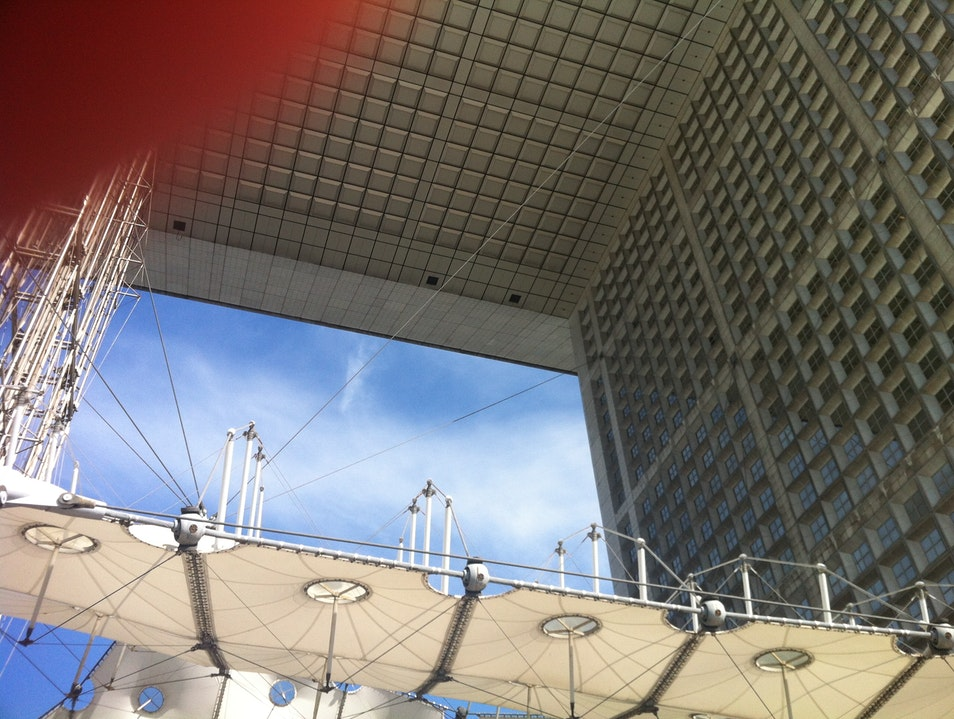 Looking up at La Grande Arche Puteaux  France