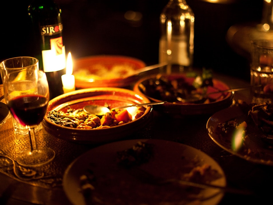Dining by candle-light